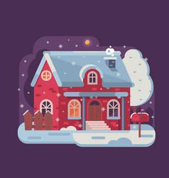 Winter cozy house snowy scene in flat vector