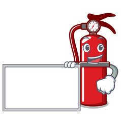 With board fire extinguisher character cartoon vector