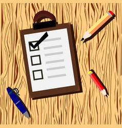 Wooden background with checklist and pencil vector