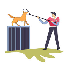 Workman catching homeless dog with help long vector