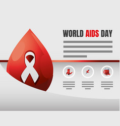 World aids day infographic awareness ribbon blood vector