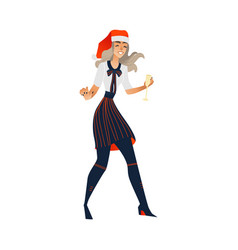 young woman at christmas party in hat vector image
