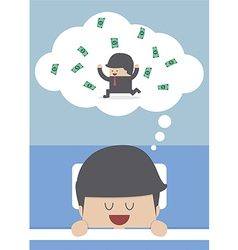 Businessman sleeping and dreaming about success vector image
