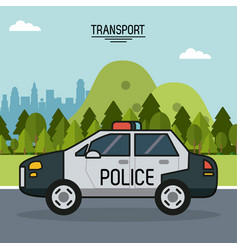 colorful poster of transport with police car on vector image vector image
