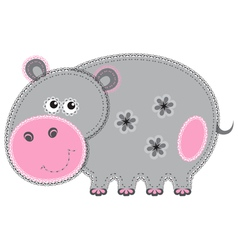 cute cartoon isolated fabric animal hippo vector image vector image