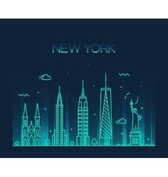 New York City skyline silhouette line art style vector image
