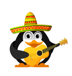 penguin with a guitar and a sombrero cartoon vector image