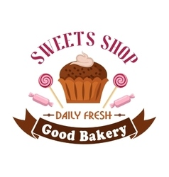 Sweet shop and bakery icon with cupcake candies vector image vector image