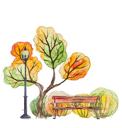 autumn park with bench and lantern vector image vector image
