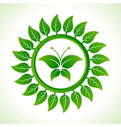 Eco butterfly inside the leaf background vector image