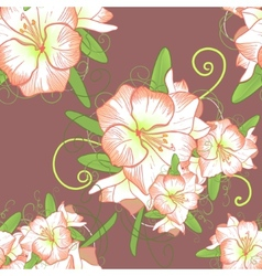 Floral seamless background with white amaryllis vector image vector image