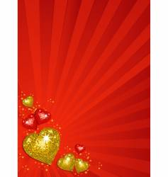 gold Valentine's disco hearts vector image vector image