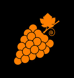 grapes sign orange icon on black vector image