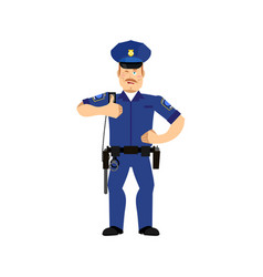 police officer winks policeman thumbs up cheerful vector image vector image
