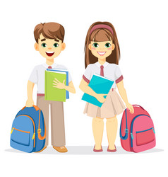 schoolboy and schoolgirl with backpack and vector image vector image
