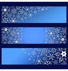 Set of banners with decorative 3d snowflakes vector image