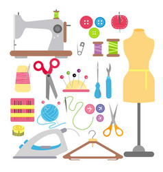 sewing and needlework flat vector image vector image