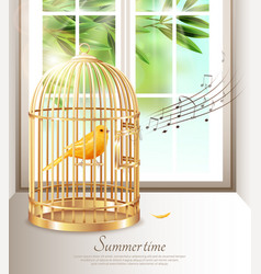 singing canary in summer time vector image