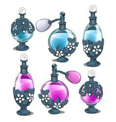 six perfume bottles with silver floral ornament vector image vector image