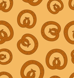 Traditional baked pretzels doodle dotted seamless vector image vector image