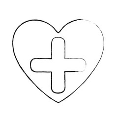 blurred silhouette heart health with cross form vector image