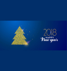 happy new year 2018 gold glitter holiday pine tree vector image vector image