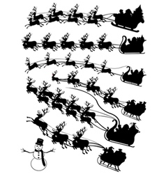 santa claus in a sled collage vector image vector image