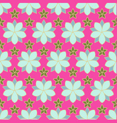 seamless pattern of linear flowers colored vector image vector image