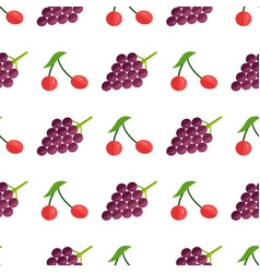 seamless pattern with red berries and purple grape vector image