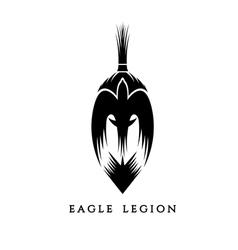 spartan warrior head with eagle vector image