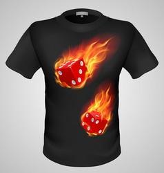T shirts black fire print man 18 vector