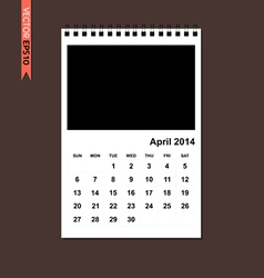 April 2014 calendar vector image