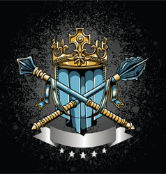 crest with grunge background vector image vector image