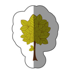 lime green sticker natural tree icon vector image