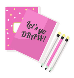 pink notepad sketchbook and pencils vector image vector image