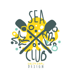 sea club logo design summer travel and sport hand vector image vector image