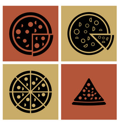 several style of pizza icons set vector image vector image