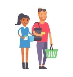 Shopping couple family vector