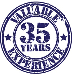Valuable 35 years of experience rubber stamp vect vector image