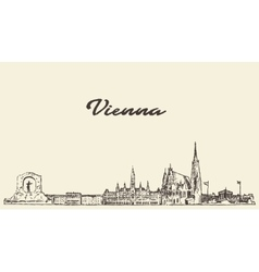 Vienna skyline Austria drawn sketch vector image