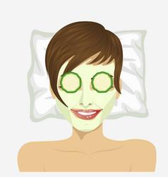 woman having revitalising facial treatment vector image vector image