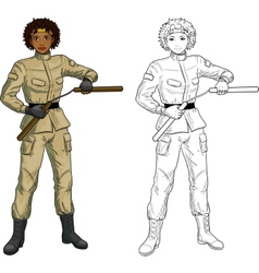 African American Nunchuck girl in military uniform vector