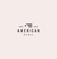 American flag house home mortgage logo hipster vector
