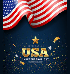 American flag waving independence day golden text vector