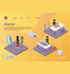 Atelier textile craft business isometric banner vector