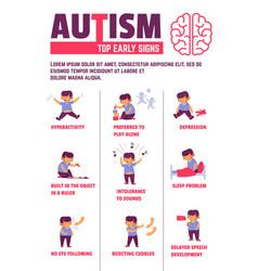 autism disease signs child symptoms mental illness vector image