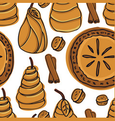 bakery pear pie pears in pastry seamless pattern vector image