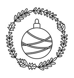 ball with wreath branch berries decoration vector image