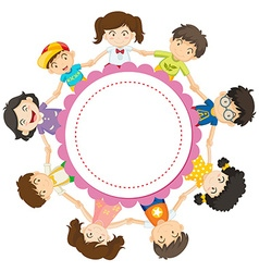 Banner design with kids holding hands in circle vector image
