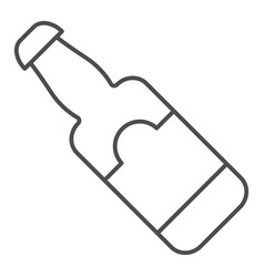 beer bottle thin line icon glass bottle vector image